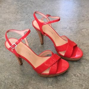 🆕 Franco Sarto Vaunt Red cork platform stilettos